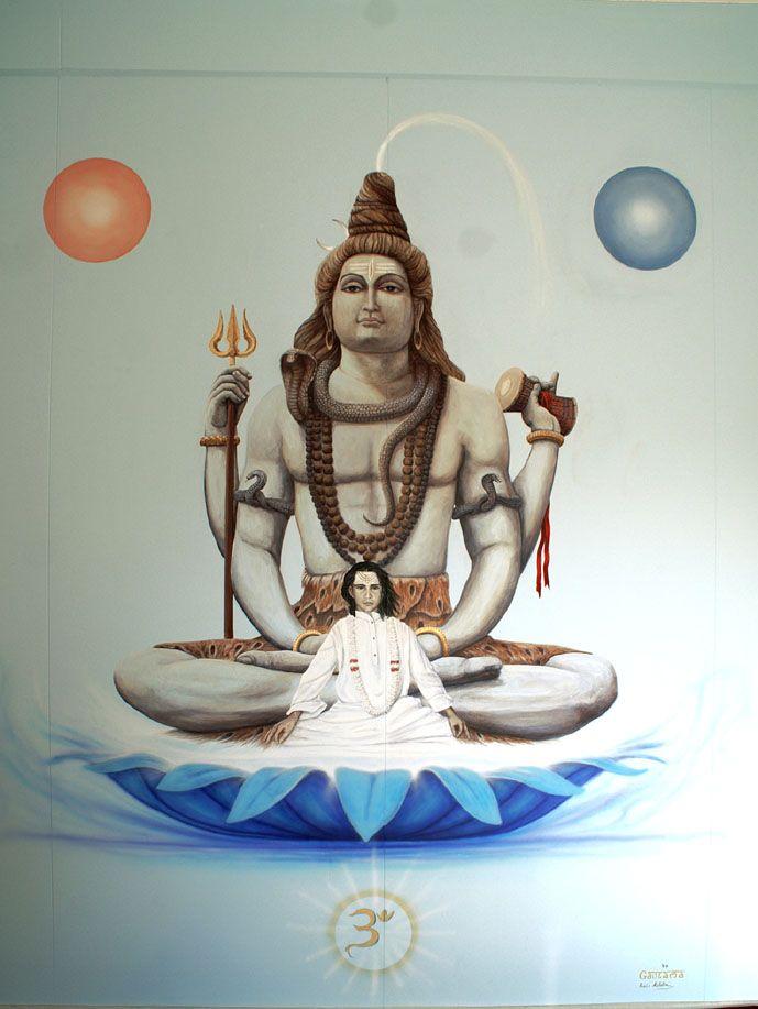 """Lo Yoga di Shiva e Baba Ji (2011)                                                                 Pittura murale 200 x 230  Dono per il centro yoga di Verbania """"Il Loto Blu"""" dedicato a Baba Ji ai suoi insegnamenti oltre le classiche tecniche di hatayoga. L'immagine di Shiva è tratta dalla foto di una statua di notevoli dimensioni, che mi ha ispirato per L'abbondante espressione di forza-calma.  Naturalmente tutti i particolari sono............."""