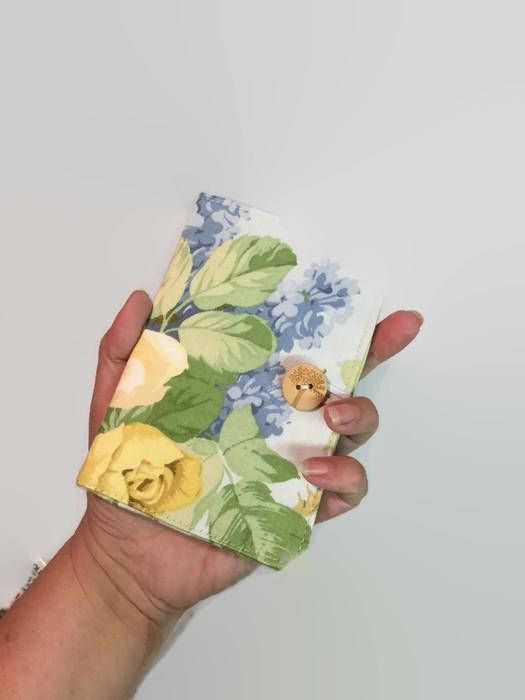 Mini Credit Card Holder Card Holder Yellow Floral Card