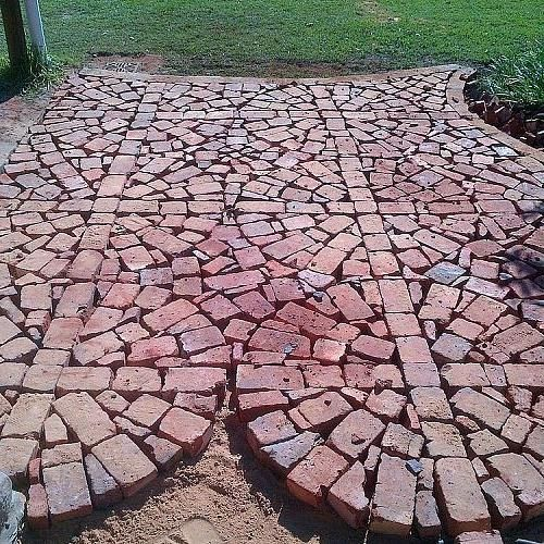Paving With Broken and Half Bricks...I have tons.  Maybe not this fancy, but I could do it a bit more rustic.