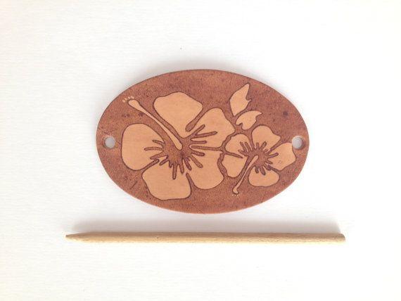 Women's Hawaiian Flower Leather Stick Barrette, Boho Hair Accessory, Hibiscus Flower Leather Hair Clip, Ponytail Holder, Hair Bun Holder
