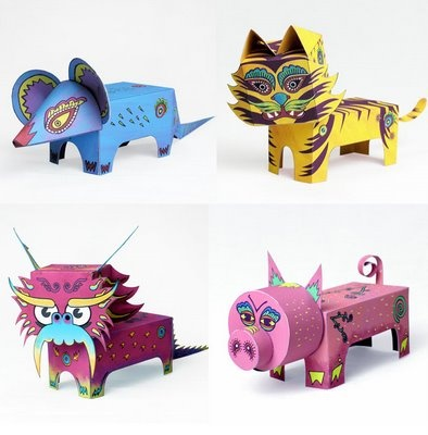 Paper Toys of Chinese Zodiac Animals: Paper Craft Toys, Animal Papertoys, Craft Asian, Paper Animals, Chinese Zoo, Paper Crafts