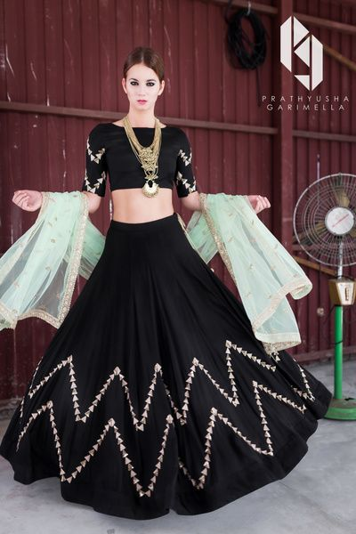 Light Lehengas - Black Lehenga with Powder Blue Net Dupatta | WedMeGood | Black Lehenga with Gotta Work, High Neck Blouse and Powder Blue Net Dupatta  #wedmegood #indianbride #indianwedding #lehenga #bridal #lightlehenga #vlack #blue