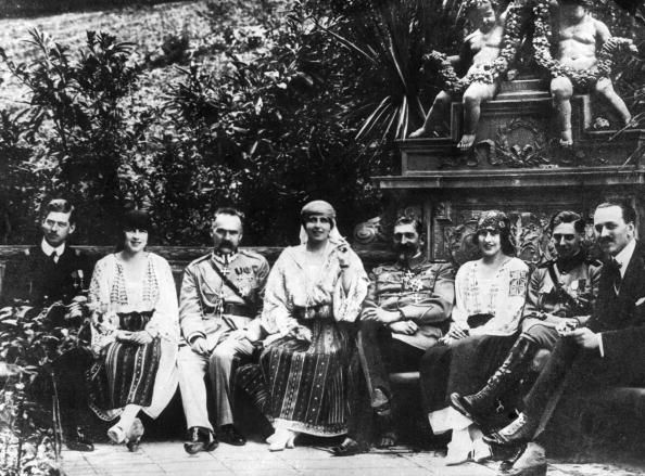 Marie Queen of Romania relaxing with her son Crown Prince Carol Marshal Pilsudski Princess Irene von Grischenland and Prince Nicholas
