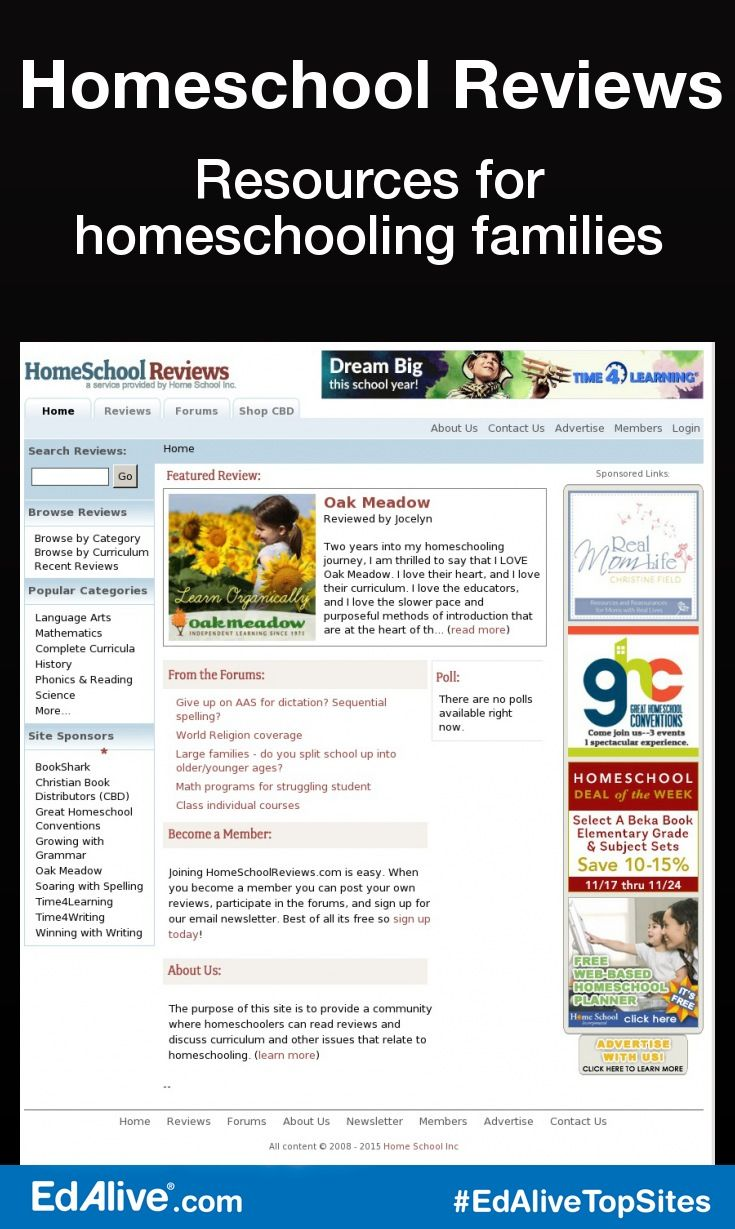 Resources for homeschooling families   Provides a community where homeschoolers can read reviews and discuss curriculum and other issues that relate to homeschooling. Because all of the content of this site is generated by homeschooling parents, a unique perspective is obtained. This perspective is invaluable to other homeschoolers when it comes time to make curriculum choices or solve problems in their home schools. #HomeSchooling #EdAliveTopSites