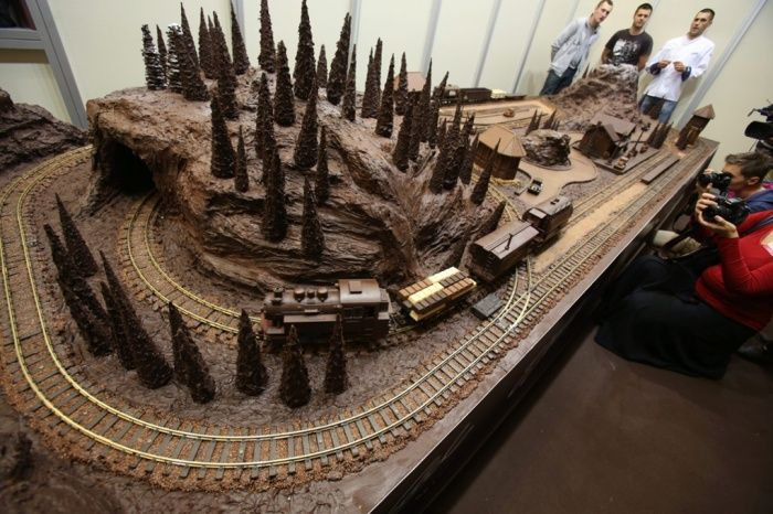 A chocolate train and railway made by Polish confectionery company E Wedel is displayed on a stand during the International Chocolate and Sweets festival at the Palace of Culture and Science.