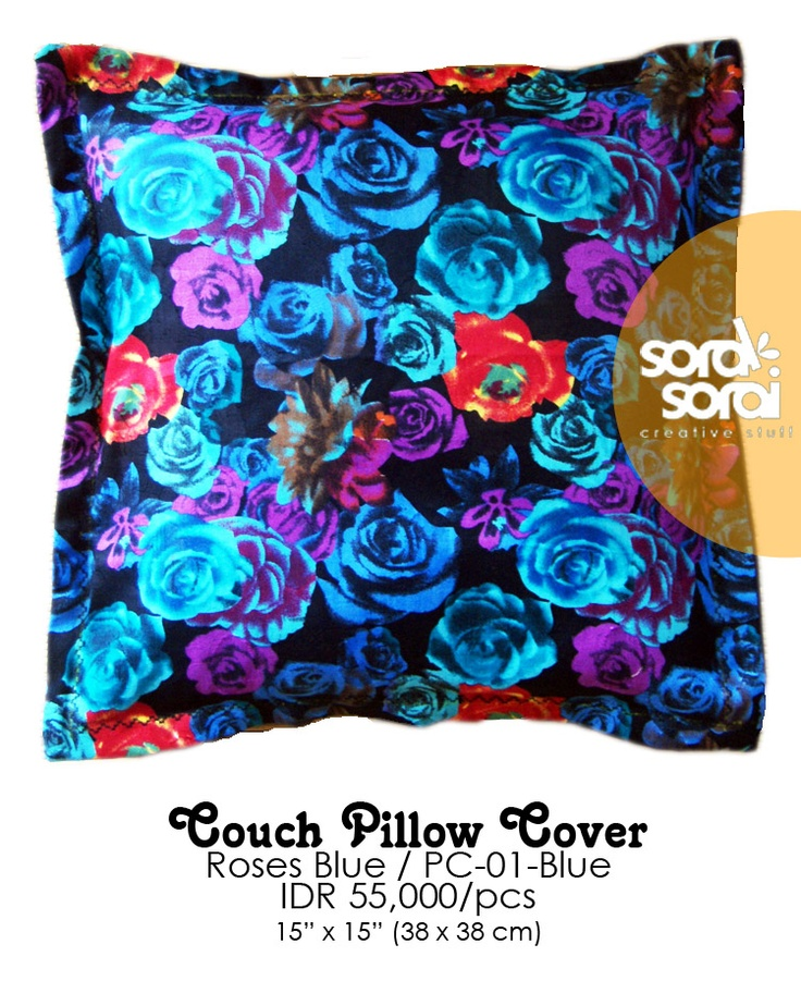 Couch Pillow / Cushion Cover, Roses series. Blue. #cushion #vintage