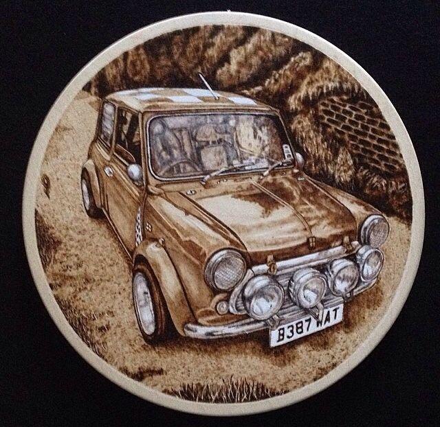 Mini , car  Pyrography / woodburning  By Martin peacock