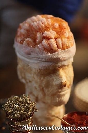 Shrimp Cocktail Brain - A fun Halloween idea that would be less scary if you used sustainable shrimp!