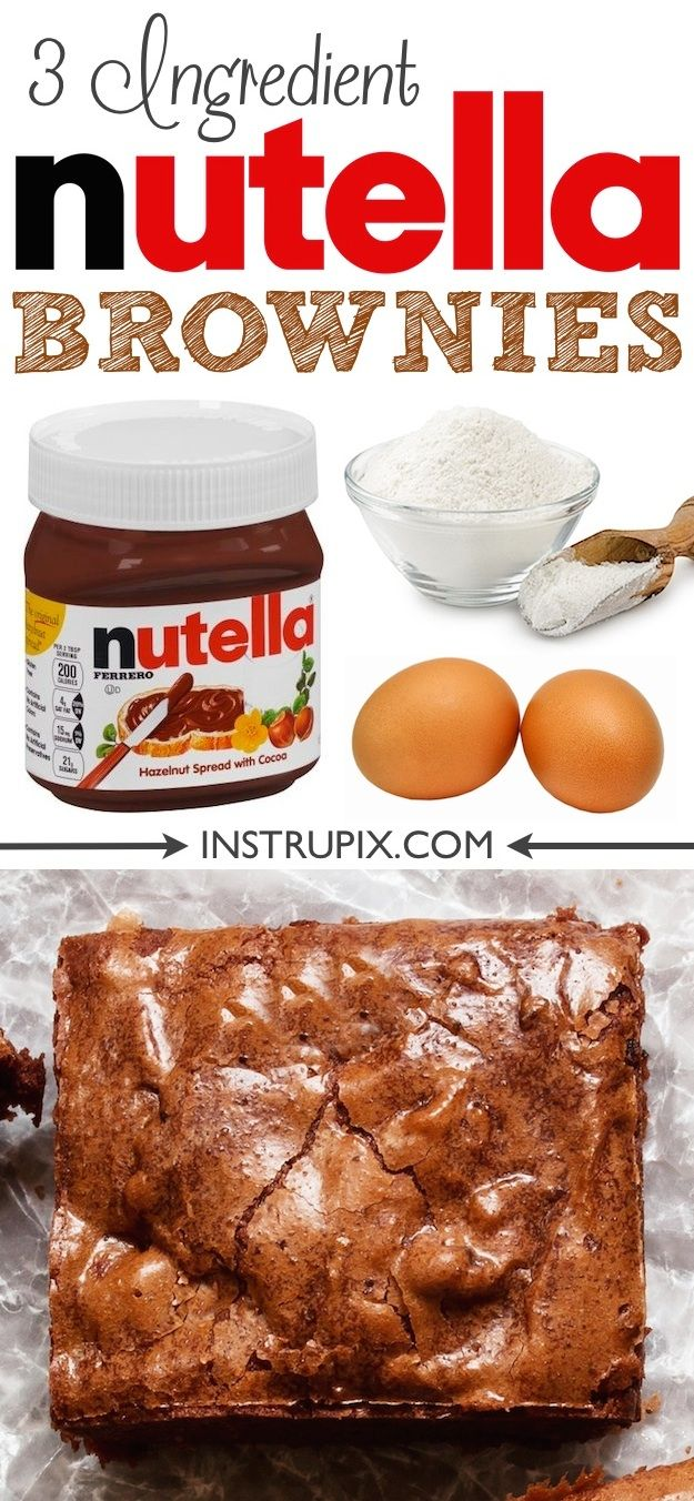 Super moist and easy Nutella Brownies recipe! Just 3 Ingredients. The easiest chocolate dessert you will ever make. Top it with ice cream!