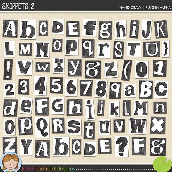 Hand-drawn digital scrapbooking alphabet | alphabet clip art | Hand-drawn doodles for digital scrapbooking, crafting and teaching resources from Kate Hadfield Designs!