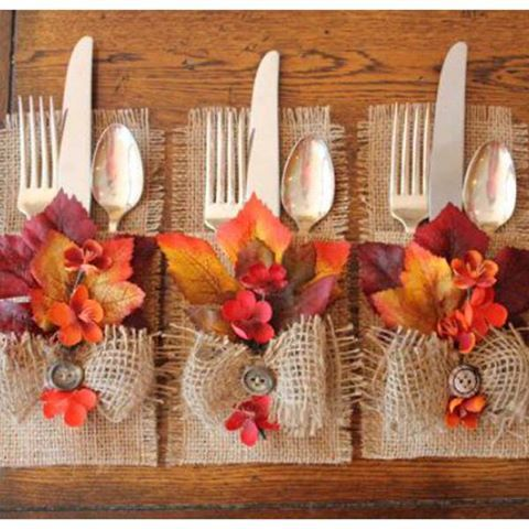 Gorgeous Fall silverware designs for a Fall Table or Thanksgiving table.