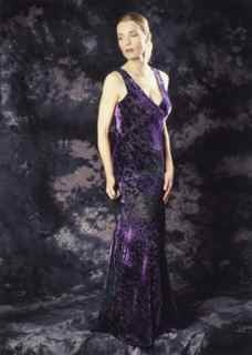 Bias cut burnt velvet in purple with emerald green silk charmuese lining. Mimi Craven model and photographer