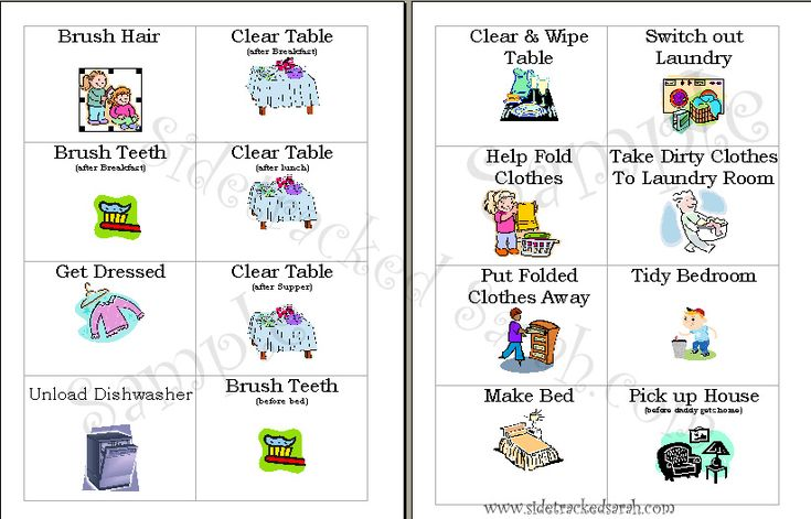 Free Chore Cards for Your Family! - Sidetracked Sarah