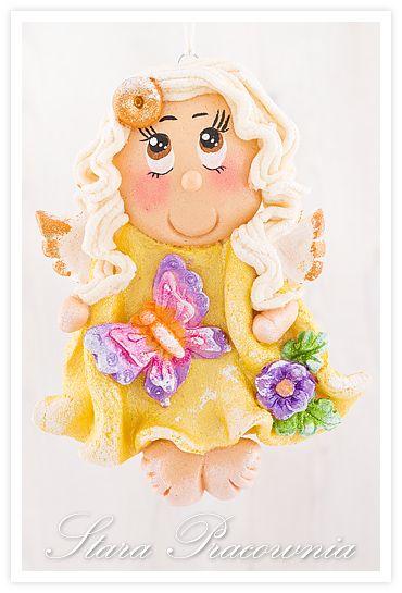Aniołki z masy solnej, aniołki z masy solnej, aniołek anioł anioły z masy solnej, masa solna, salt dough angels, zimowe aniołki z masy solnej www.starapracownia.blogspot.com