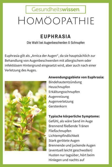Die Ausgangssubstanz des homöopathischen Mittels ist die Wiesenpflanze Euphrasia officinalis. Für die homöopathische Zubereitung wird die ganze, blühende Euphrasia verarbeitet. Generell wirkt Euphrasia entzündungshemmend und reizlindernd auf die Bindehäute der Augen sowie auf die Nasenschleimhaut. Aufgrund des besonderen Bezugs zu den Augen gibt es das homöopathische Mittel nicht nur in Form von Globuli, sondern auch als Augentropfen.