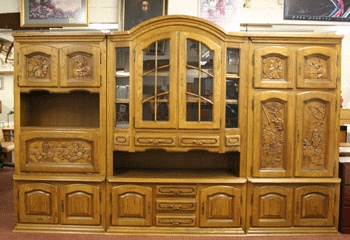 Highly Carved German Schrank