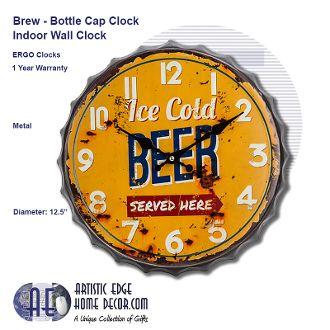 ERGO Brew, Bottle Cap Wall Clock