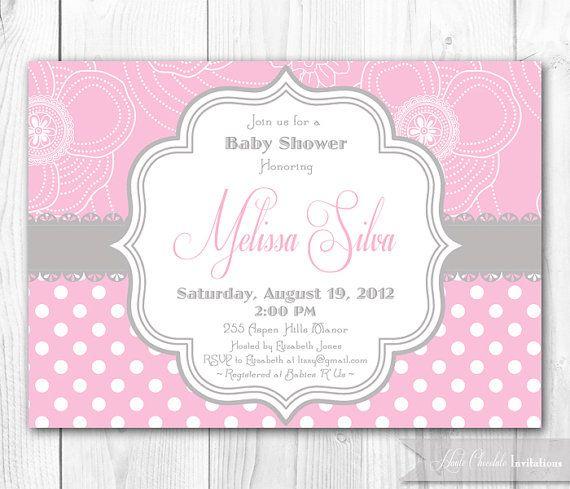 baby shower invitation pink gray shabby chic diy printable baby