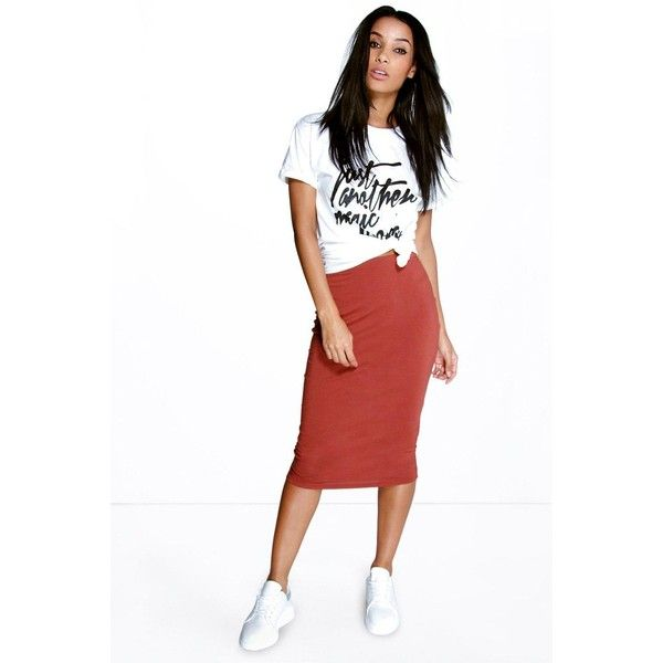 Boohoo Basics Brea Basic Jersey Midi Skirt ($8) ❤ liked on Polyvore featuring skirts, chestnut, white jersey skirt, high waisted bodycon skirt, midi tube skirt, high-waisted skirts and white midi skirt