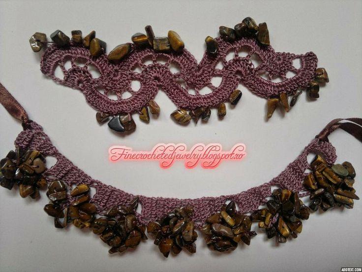 Crochet jewelry with stones