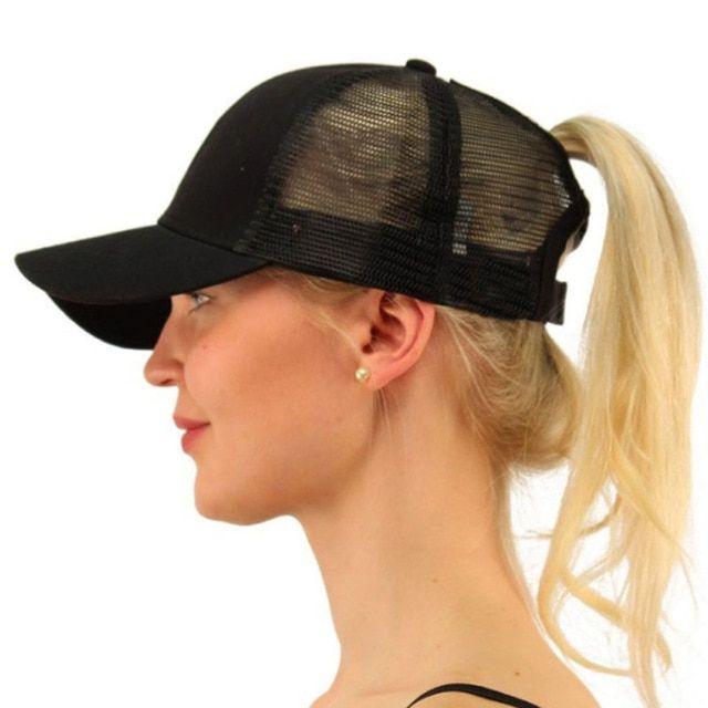 Frauen glitzern Pferdeschwanz Baseball Cap Papa Hut Mesh Trucker Caps chaotisch Brötchen Sommer Hut Snapback einstellbare Hip Hop Hüte   – Products