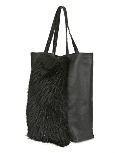 DIVERSO ITALIANO - DRUMMED LEATHER & FUR GIANNA TOTE -
