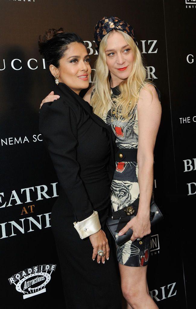 chloesevignyonline:    Chloë Sevigny with Salma Hayek and Ricky Saiz at the Cinema Society screening of Beatriz at Dinner in New York City NY on June 6th 2017.