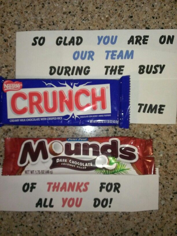 Morale Boosting Messages!  Changing healthcare, reduced staff, busy days...sometimes you just need some positive feedback.  This is a fun way to let staff know they are appreciated. I make a poster with the saying and a king size wrapper from the candy of the day. I also place a large bowl of the candy bar, snack size, in the breakroom for the staff to enjoy.  This seemed to be a big hit last year.  There are several sites on pinterest that give you ideas for the sayings for different…