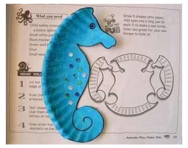 Seahorse paper plate craft :))