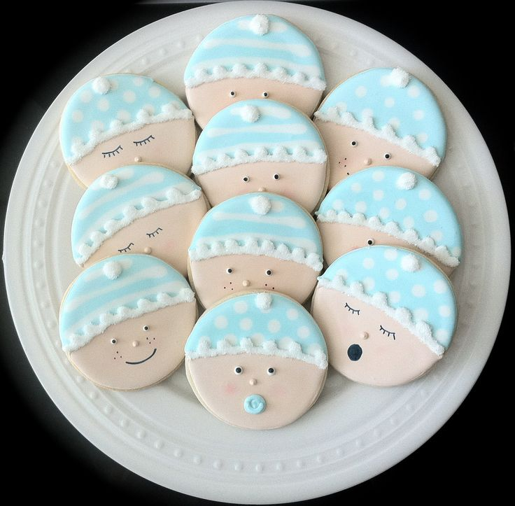 Decorated Baby Shower Cookies- Cute Baby Faces in your gender choice. $36.00, via Etsy.
