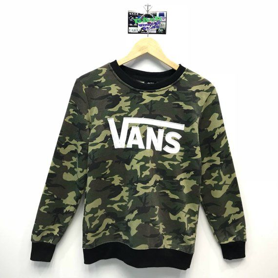 2106e2c1e8 Vintage Vans Off The Wall Sweatshirt Vans Camo Big Logo Embroidery Big  Spell Out Pullover Ju