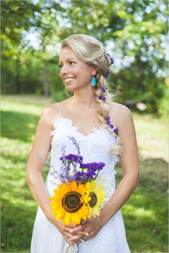 sunflower wedding ideas | bohemian bridal look | purple and yellow wedding ideas | #weddingchicks