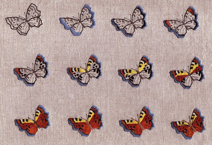 How to embroider a butterfly step by hand