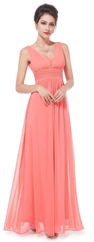 EMILY Coral Chiffon Maxi Prom Evening Bridesmaid Dress - www.eloises-secret-closet.co.uk