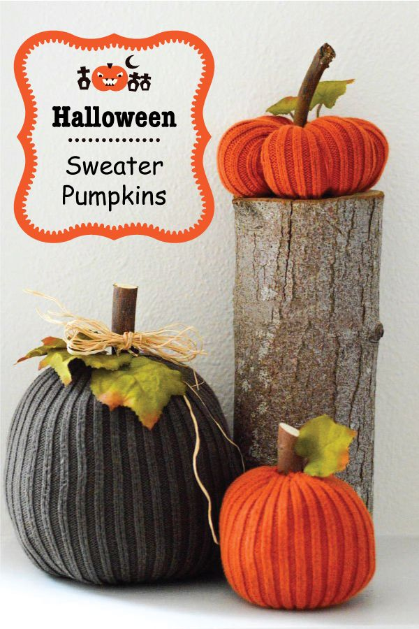 Upcycle your old sweaters into some spooky Halloween decor.