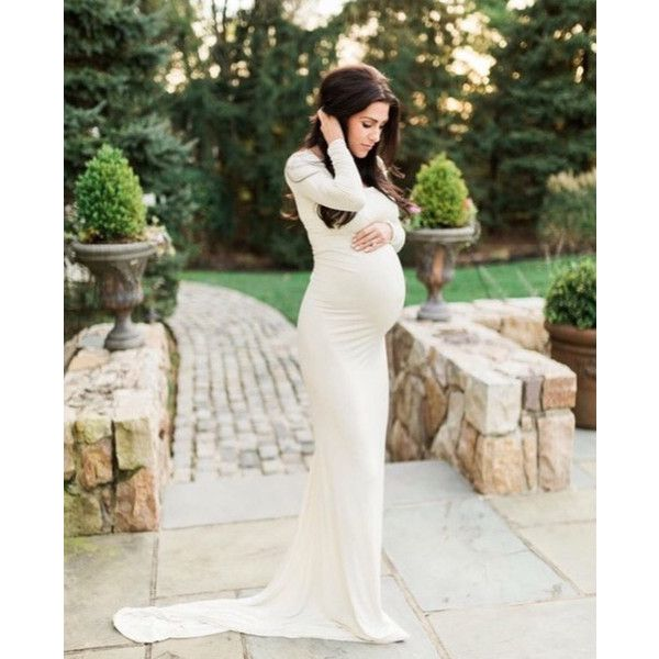 Cream Jersey Long Sleeves Slim Fit Maternity Gown Maternity Dress... ($135) ❤ liked on Polyvore featuring maternity, dresses, white and women's clothing