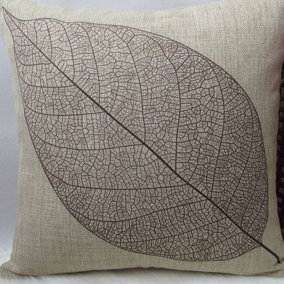 1 cotton linen leaf pattern decorative pillow by xinghuajiang