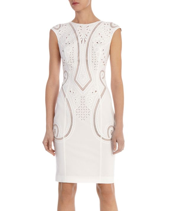White Cap Sleeve Hollow Embroidered Slim Dress