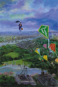 Mary Poppins - Let's Go Fly a Kite - Harrison Ellenshaw - World-Wide-Art.com - $895.00 #Disney #Ellenshaw
