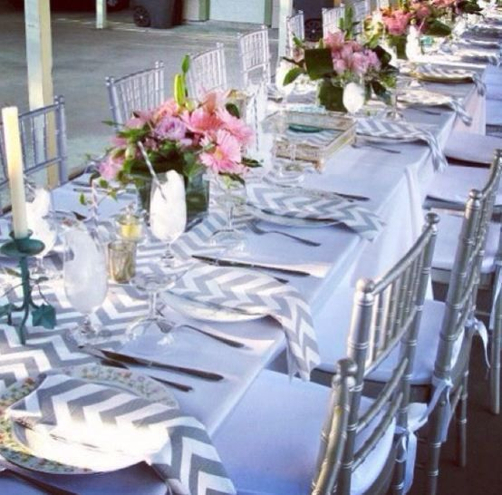 Gray Chevron Table Runner Wedding | Wedding Grey And White Zig Zag Stripe  Chevron .
