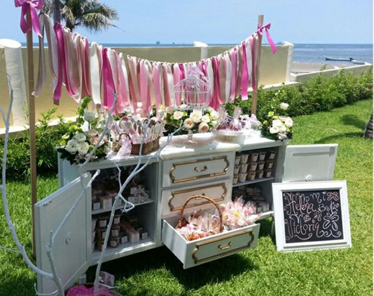 christening candy buffet table #pink #sweet #love #princess