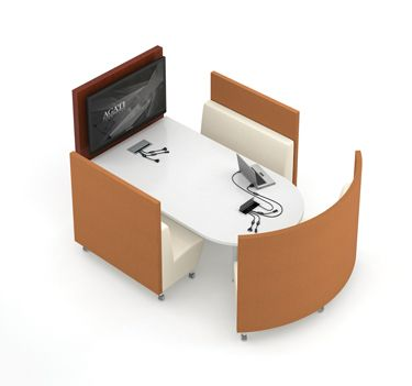 "Super cool ""booth"" idea incorporating a screen and workplaces for multiples"