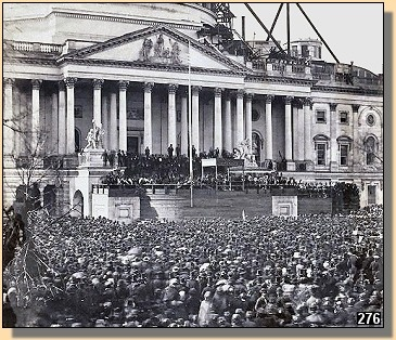 Inauguration of President Abraham Lincoln in front of the U.S. Capital building (while it was still undergoing construction), March 4, 1861.
