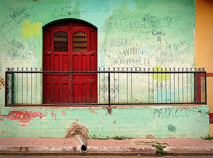 A red door in Nicaragua is surrounded by graffitied names. travel. doors of the & 149 best Doors of the World images on Pinterest   Entryway The ...