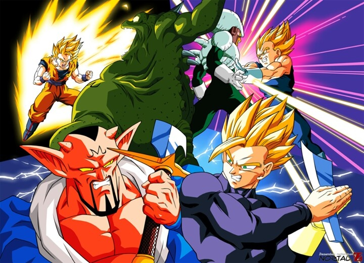 Gohan vs Dabura, Goku vs Yakon, and Vegeta vs Pui Pui
