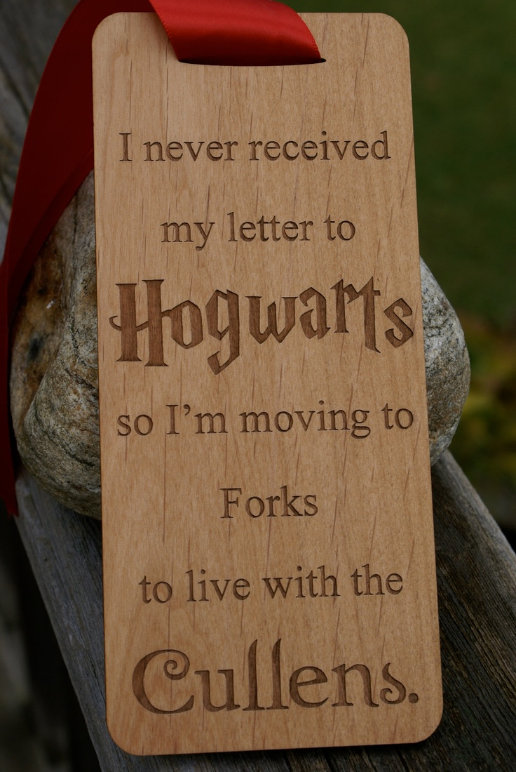 Harry Potter / Twilight Door Hanger/wood sign by foreveretchings, $10.00