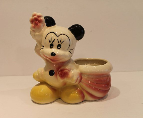 Vintage Mickey Mouse   Minnie Mouse Ceramic by FunkieFrocks. FunkieFrocks on etsy. Coupon code SPRING17 for 20% off.