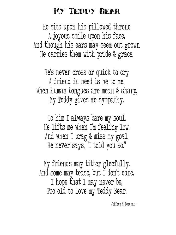 Teddy Bear Poems, My Teddy Bear Poem by Jeffrey S. Foreman on denisepurringtonbears.com