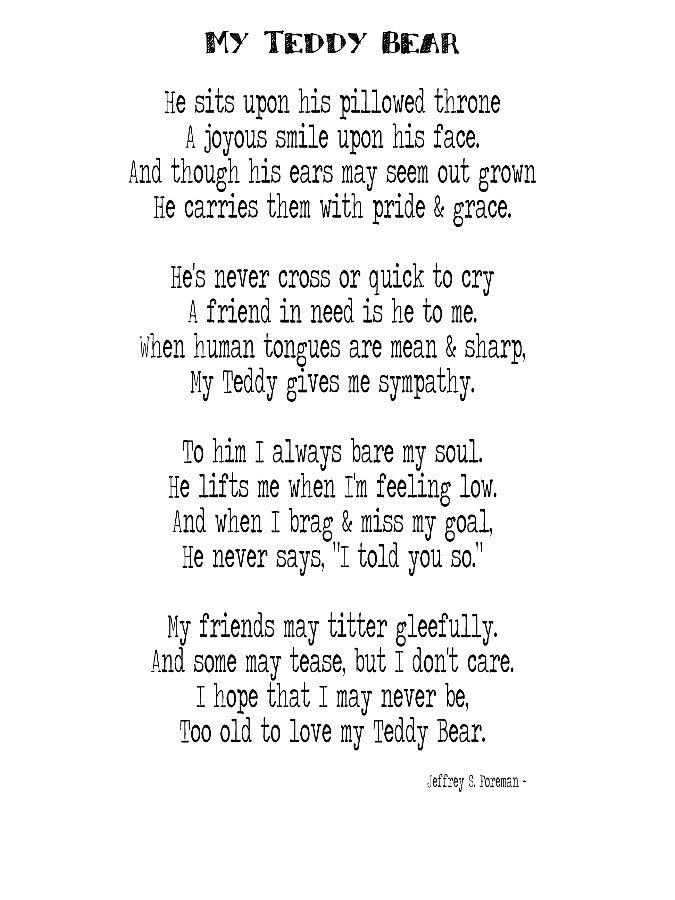 Teddy Bear Poems My Teddy Bear Poem By Jeffrey S Foreman