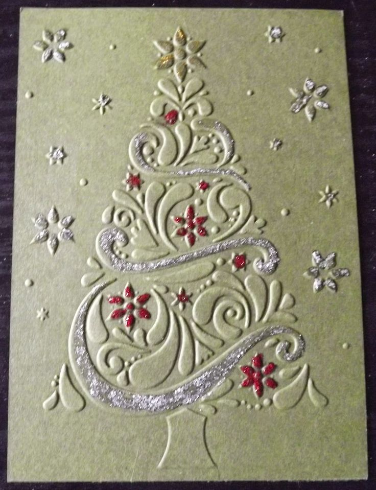 Card Making Ideas With Embossing Folders Part - 33: I Have Been Playing With A Darice Christmas Tree Embossing Folder. This One  Is Embossed On Stampinu0027 Up! Mossy Meadow And Decorated With Da. Xmas Cards  ...
